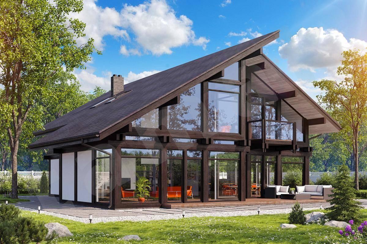 Каркасный дом с панорамными окнами и фото больших проектов