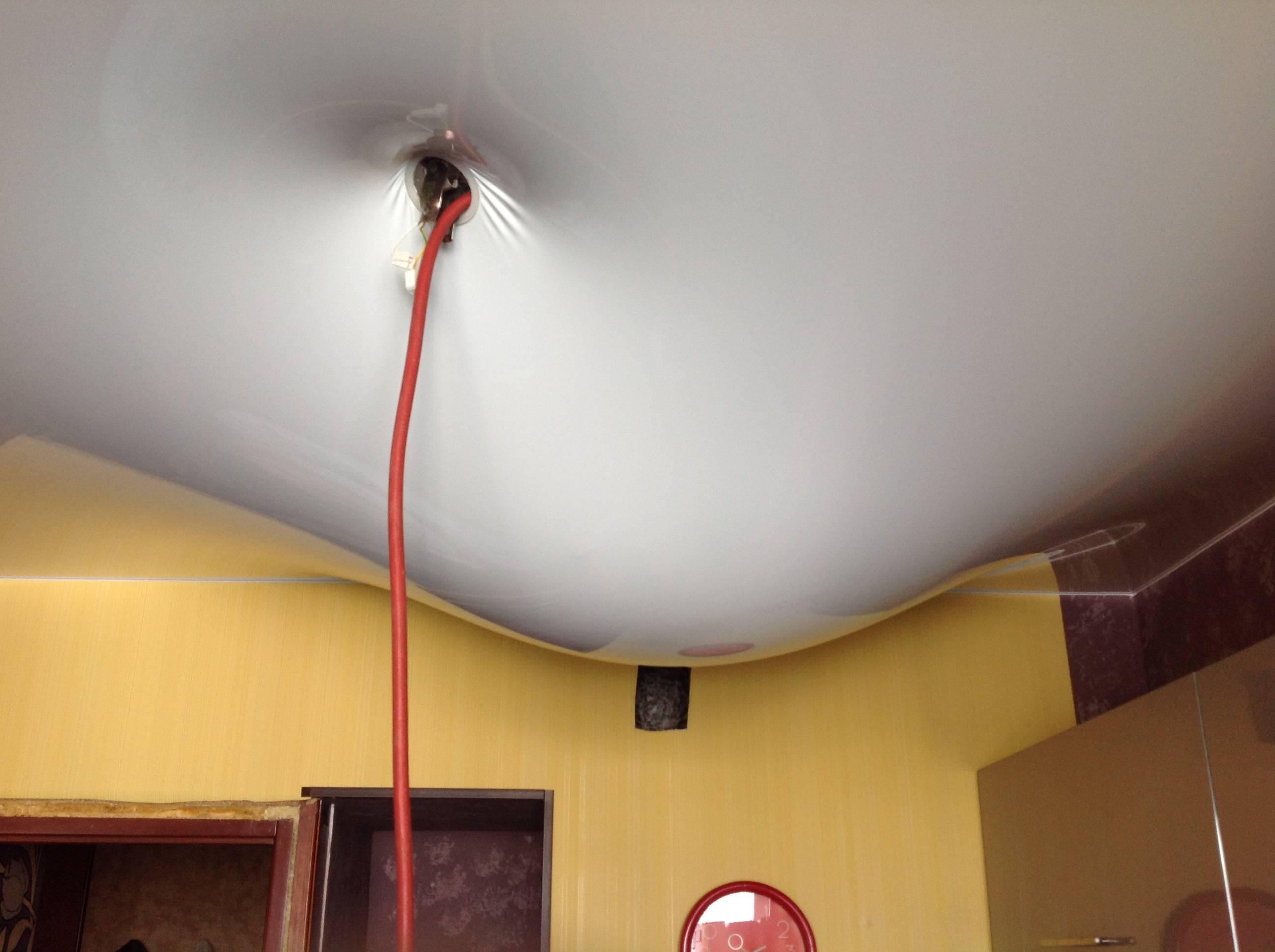 Как просушить натяжной потолок после затопления - всё о ремонте потолка
