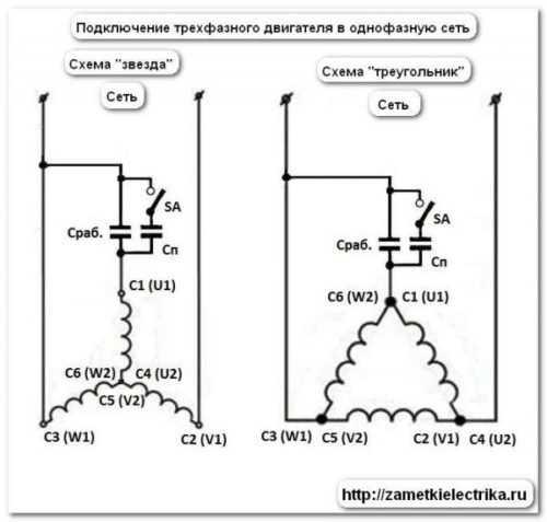 Как подключить однофазный электродвигатель — схема с конденсатором