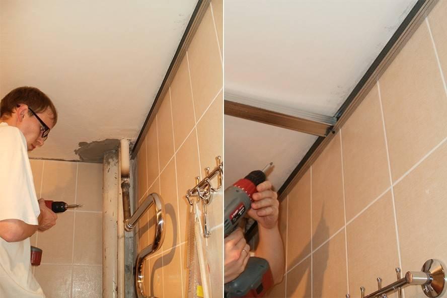 Как сделать потолок из пластиковых панелей в ванной своими руками