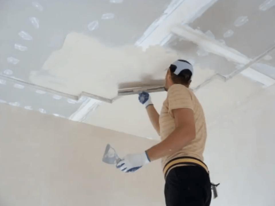 Подготовка и шпаклевка потолка из гипсокартона под покраску