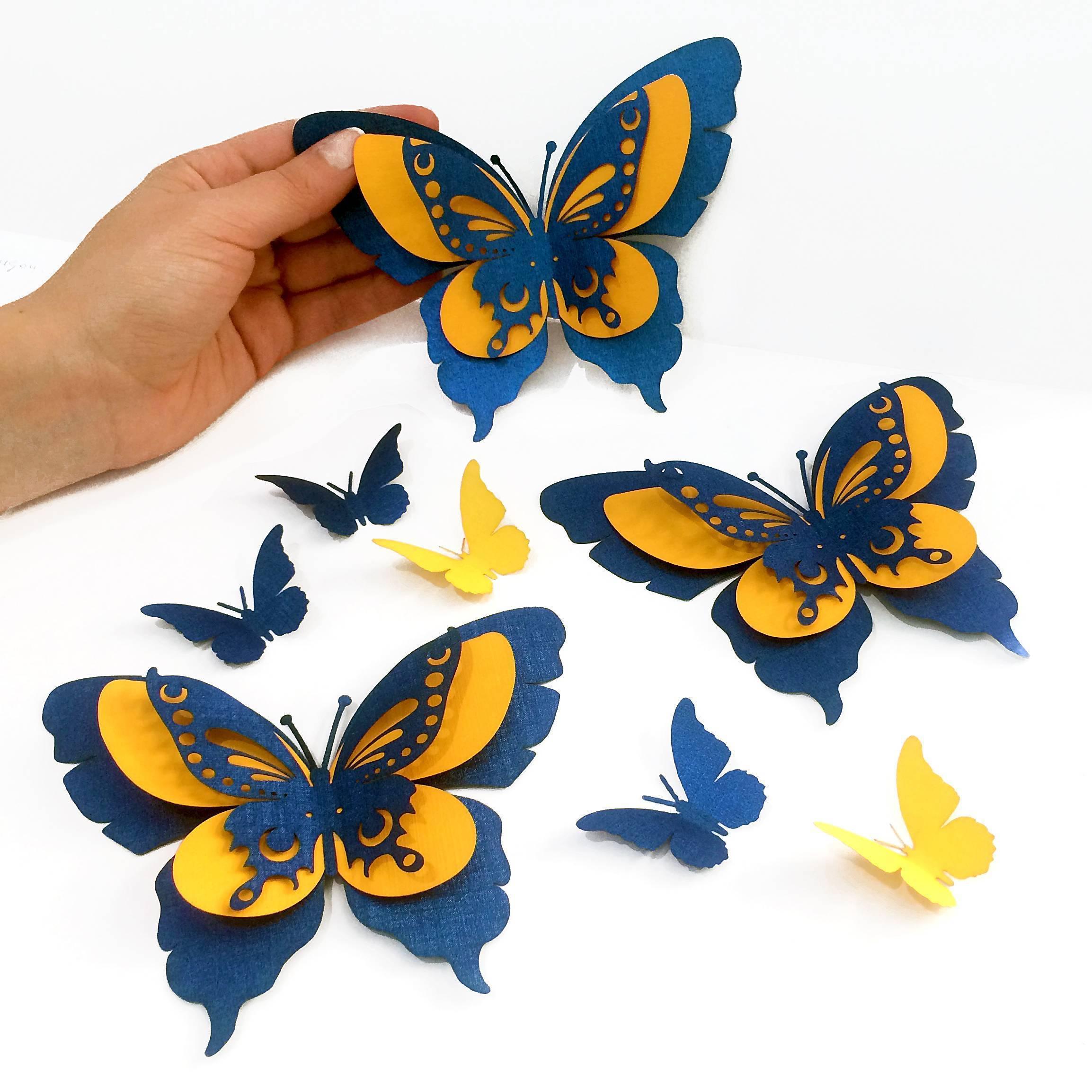 Трафареты бабочек из бумаги на стену для декора своими руками