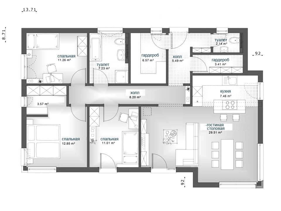 Проекты одноэтажных домов с тремя спальнями: создание функциональной планировки