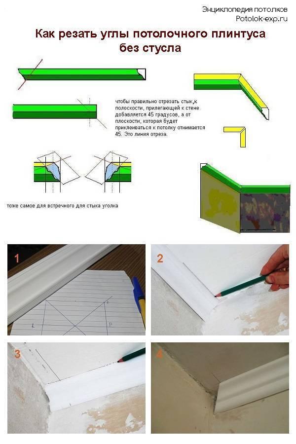 Как вырезать угол потолочного плинтуса. подготовка плинтуса. действия при отсутствии стусла, разметка на стене и рисование стусла