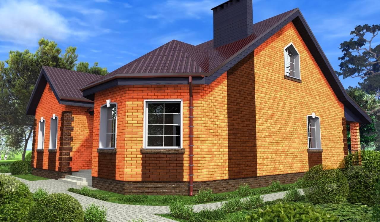 Проекты 1 этажных домов из кирпича. преимущества одноэтажных кирпичных домов