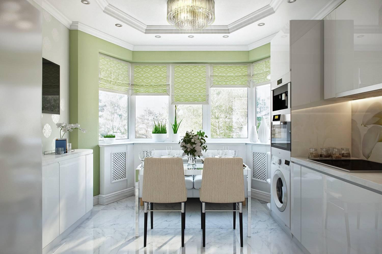 Дизайн кухни с эркером п-44т (57 фото): размеры эркерных кухонь с воздуховодом и вентиляционным коробом в доме и квартире, особенности оформления интерьера