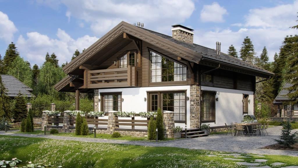 Дом в стиле шале одноэтажный из бруса, проекты загородного коттеджа с деревянным и комбинированным фасадом, дизайн интерьера частного особняка