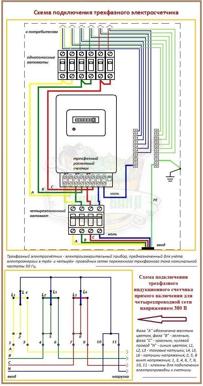 Подключение трехфазного счетчика схема через трансформаторы тока