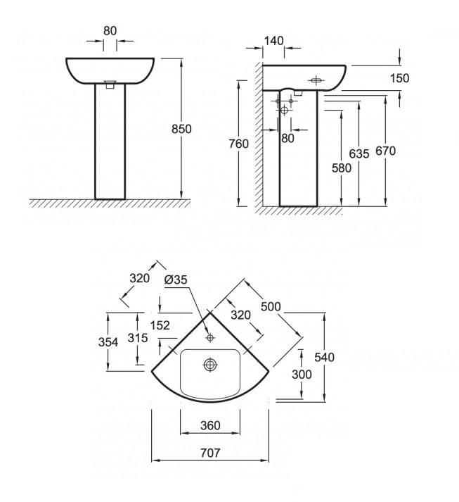 Высота установки раковины в ванной комнате?