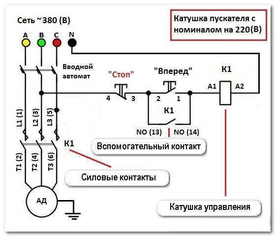 Схема подключения пускателя (контактора): как сделать своими руками?