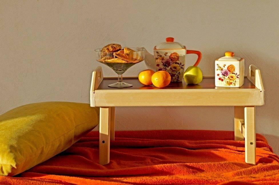 ? столики для завтрака в постели: виды, материалы, мастер-класс по изготовлению
