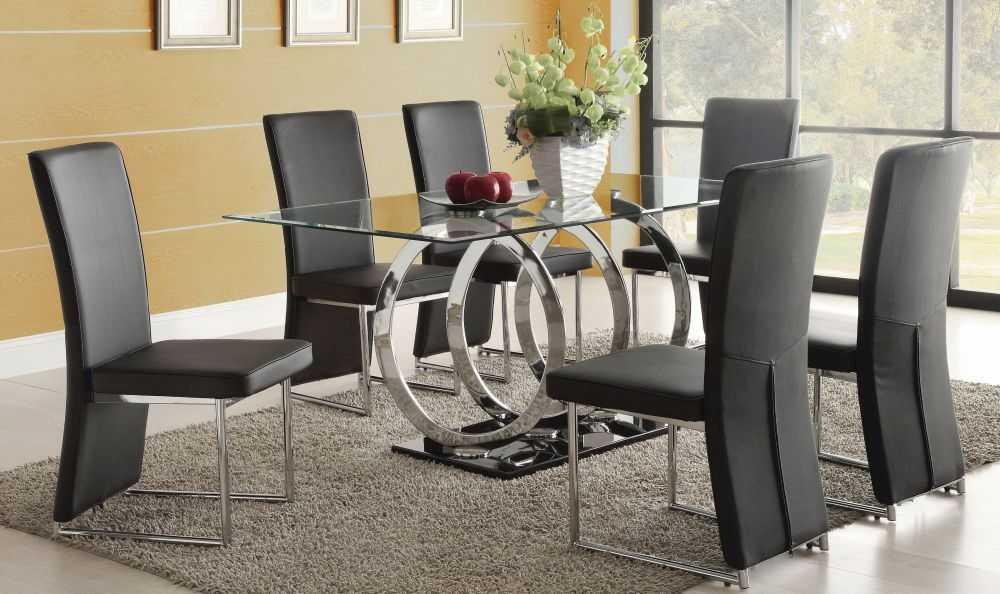 Стеклянный стол на кухню: круглый, прямоугольный, овальный (45 фото)