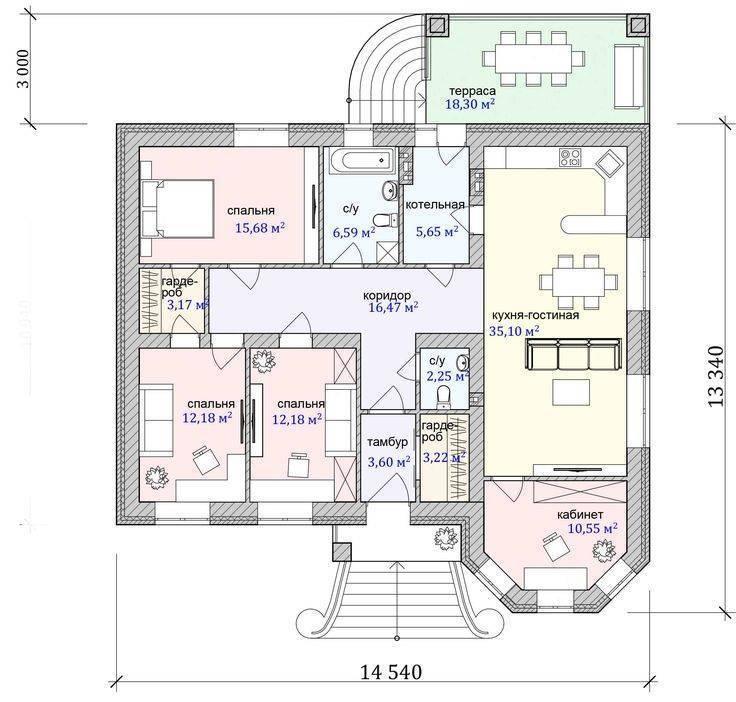 Проекты одноэтажных домов до 150 м2