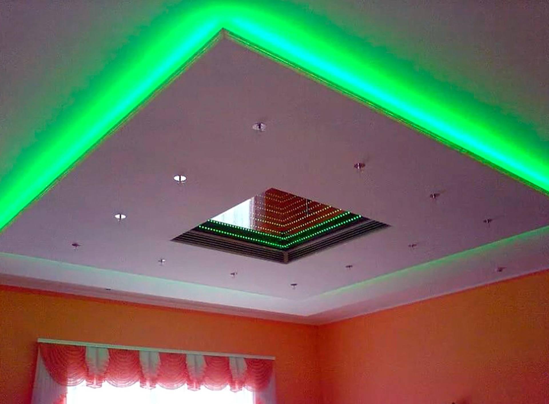 Двухуровневый потолок из гипсокартона с подсветкой: фото дизайна, цена, устройство, пошаговая инструкция по монтажу своими руками со схемой,