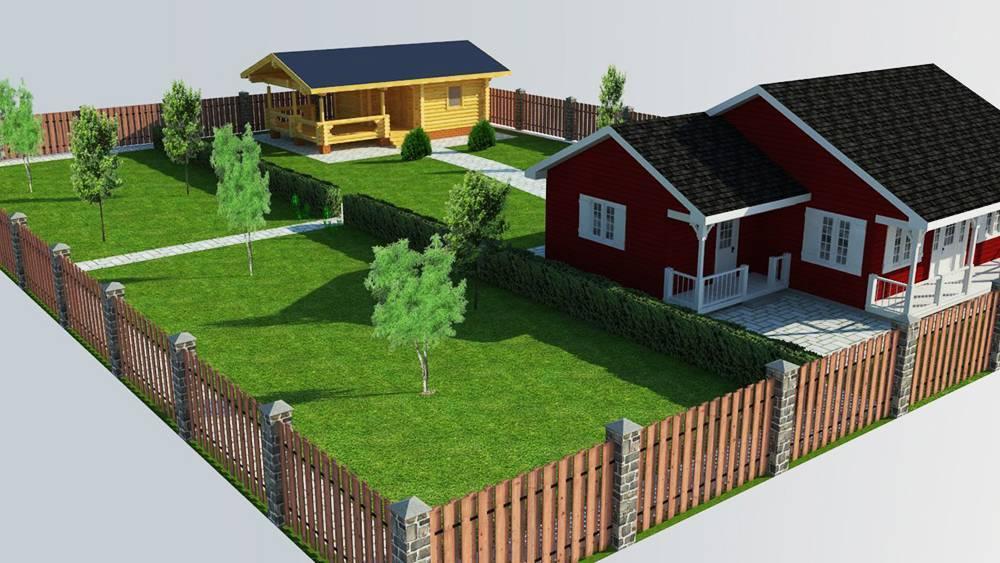 Планировка участка загородного деревянного дома