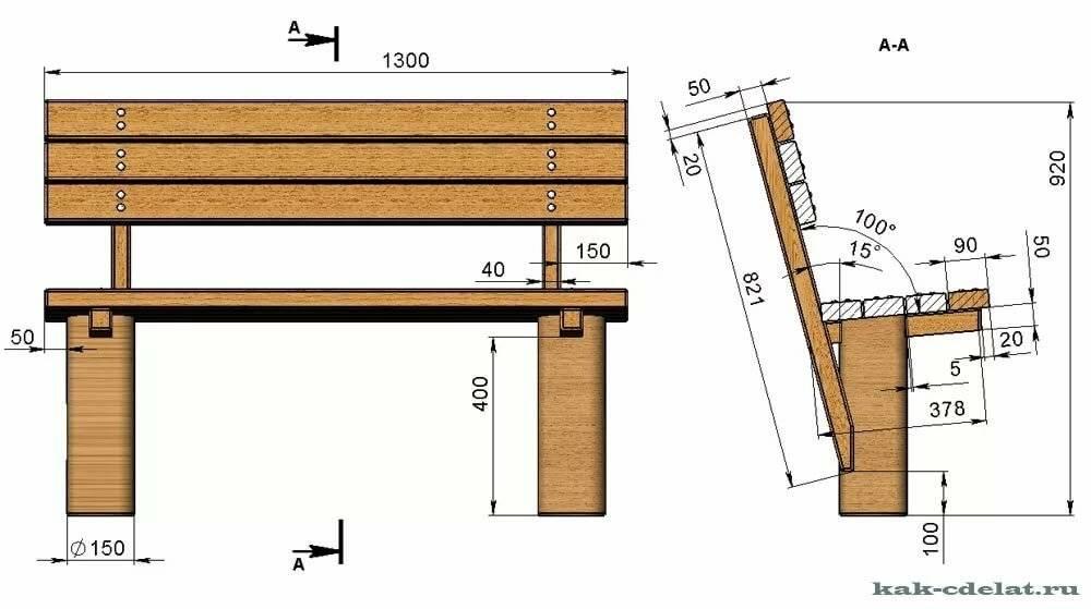 Изготовление скамейки своими руками из дерева
