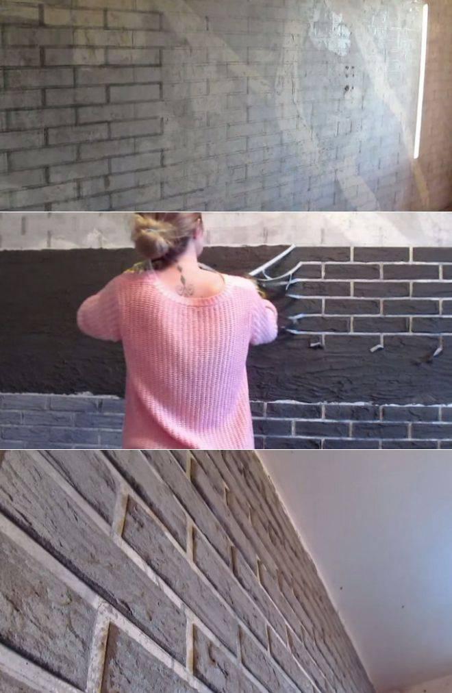 Имитация кирпича для внутренней отделки своими руками