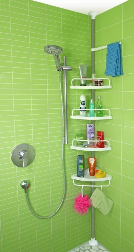 Виды угловой полки для ванной