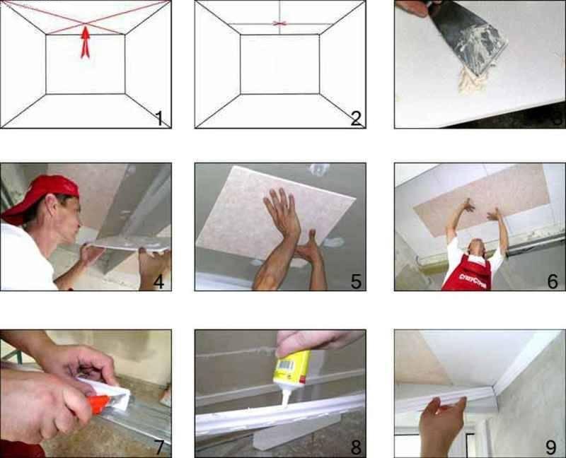 Как правильно клеить потолочную плитку и разные способы отделки