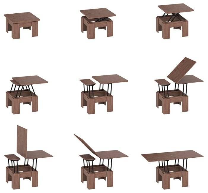 Фото столов-трансформеров для гостиных с размерами