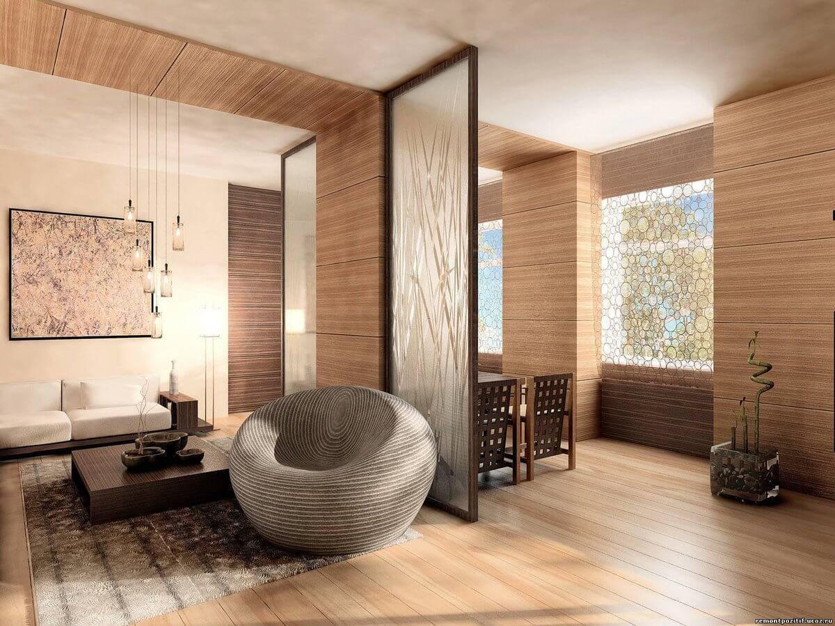 Отделка ламинатом потолка, дизайн и фото интерьеров