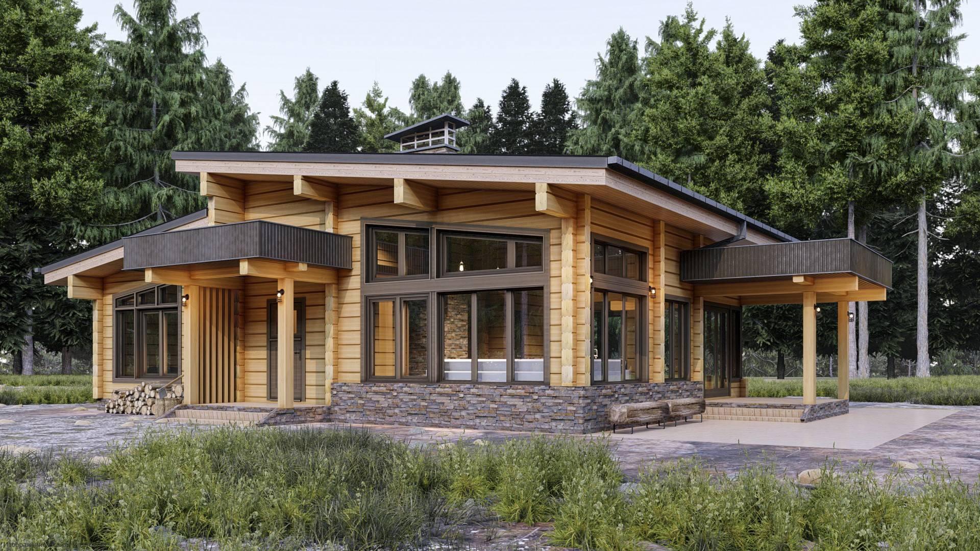 Проекты одноэтажных деревянных домов и коттеджей из бруса