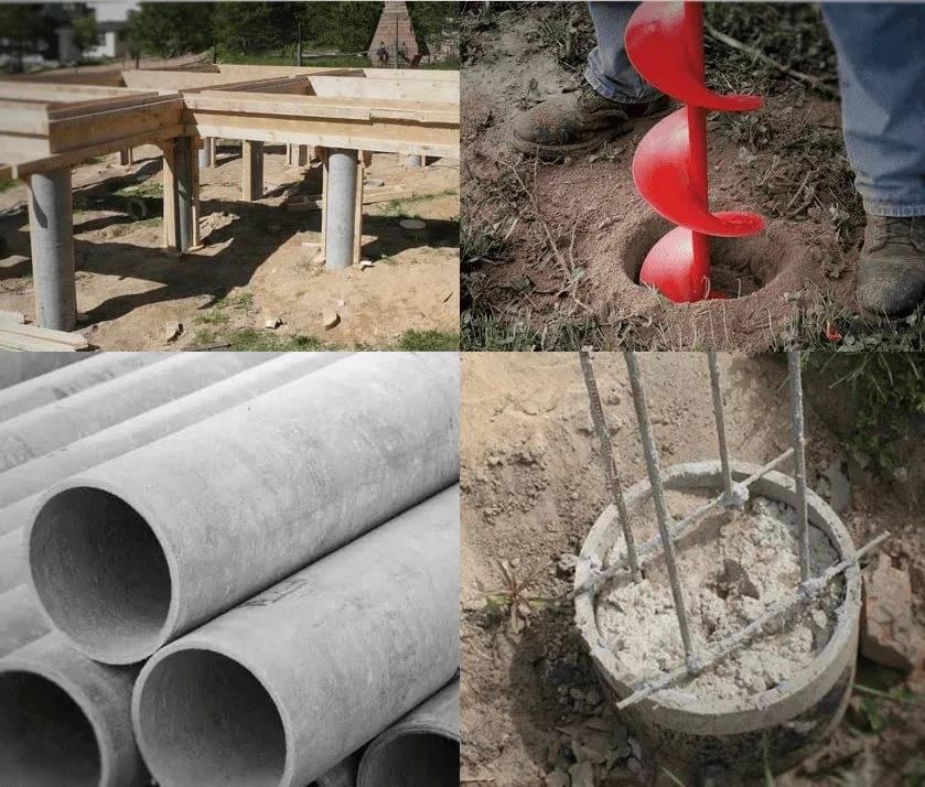 Фундамент для дома из асбестовых труб