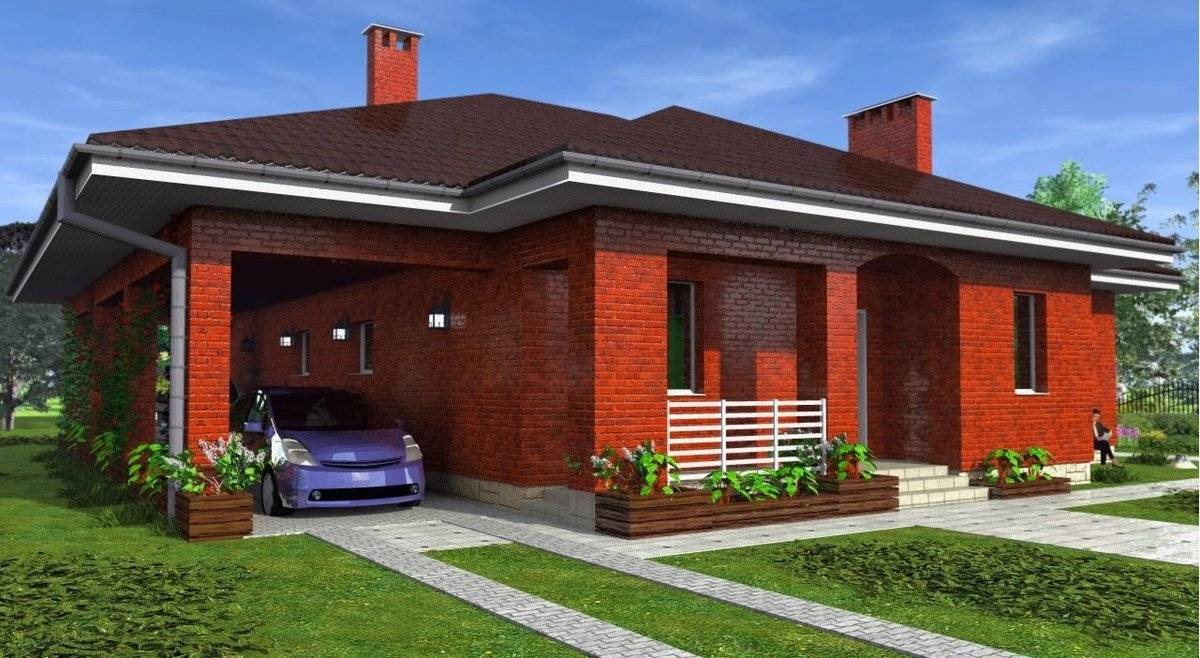 Простые дома из красного кирпича