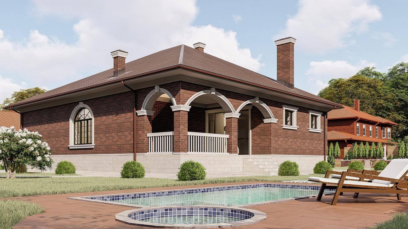 Одноэтажные кирпичные дома (93 фото): красивые проекты для строительства из кирпича, варианты для площади 100, 120 и 150 кв. м, простые постройки с мансардой и с гаражом