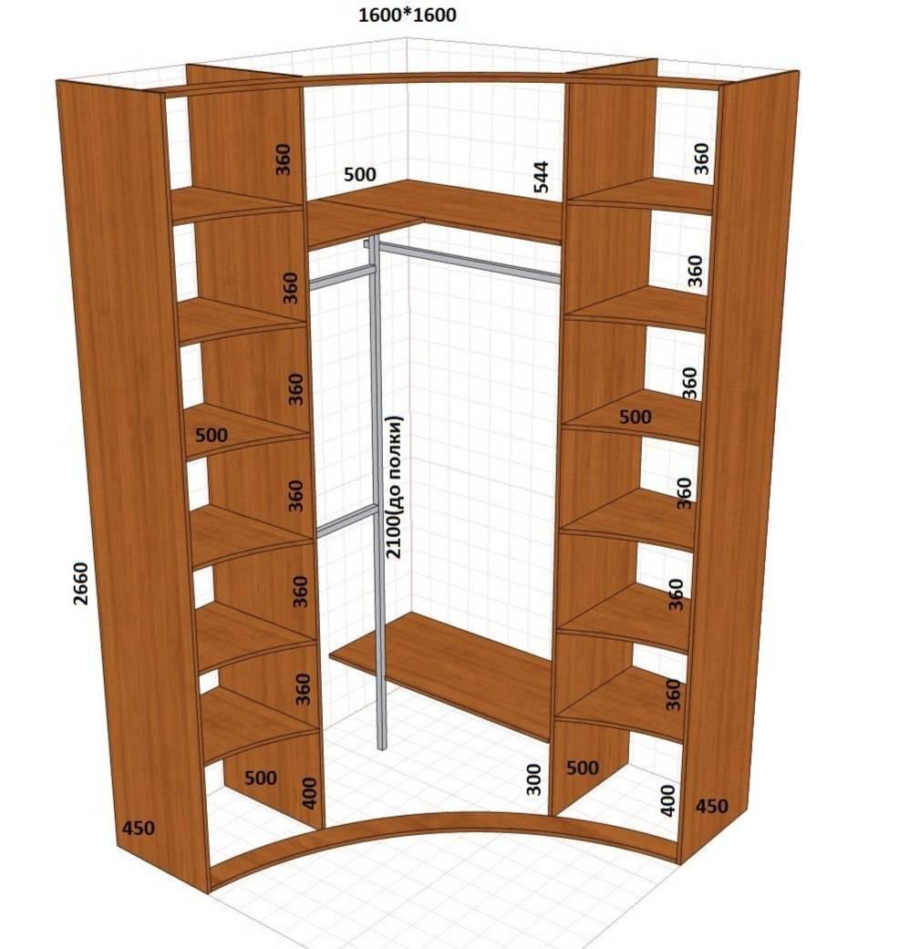 Угловой шкаф внутри: варианты наполнения, размеры, фото