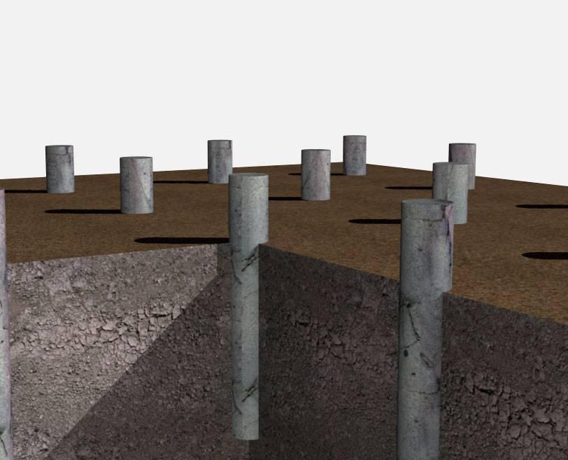 Монтаж фундамента из асбестовых труб