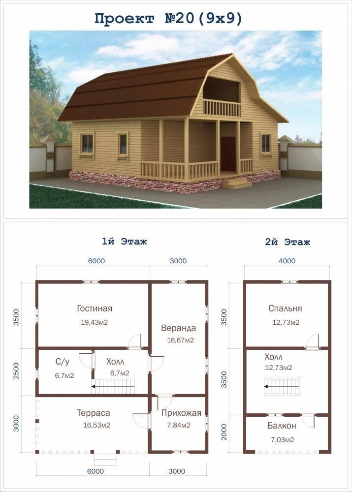 Планировка домов с мансардой - готовые планы коттеджей 8х10, 10х10, 9х9, 8x8, 9x12