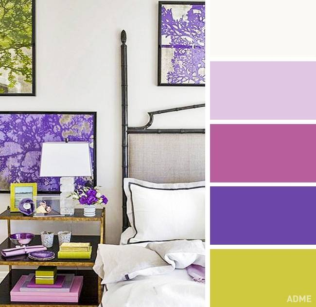 Сиреневый цвет в интерьере. сочетание цветов.