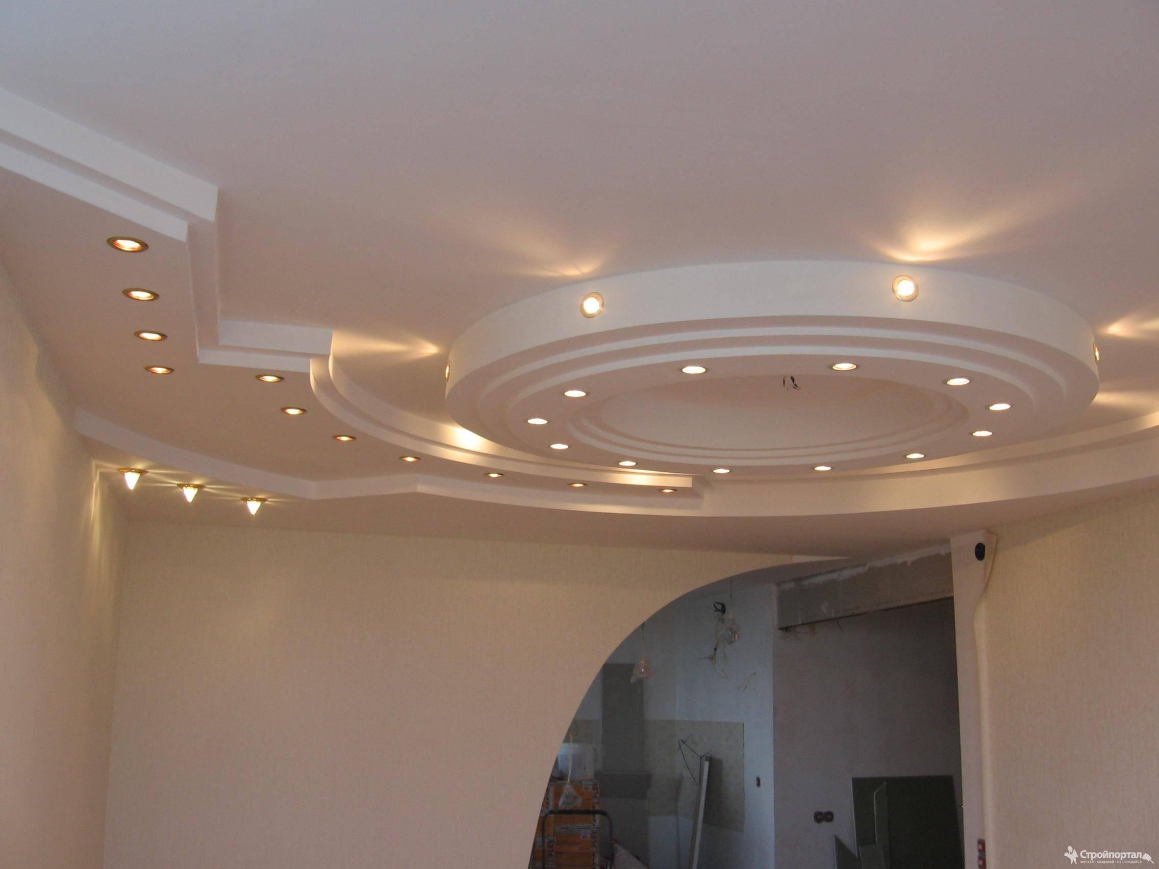 Фото натяжных потолков из гипсокартона для гостиной