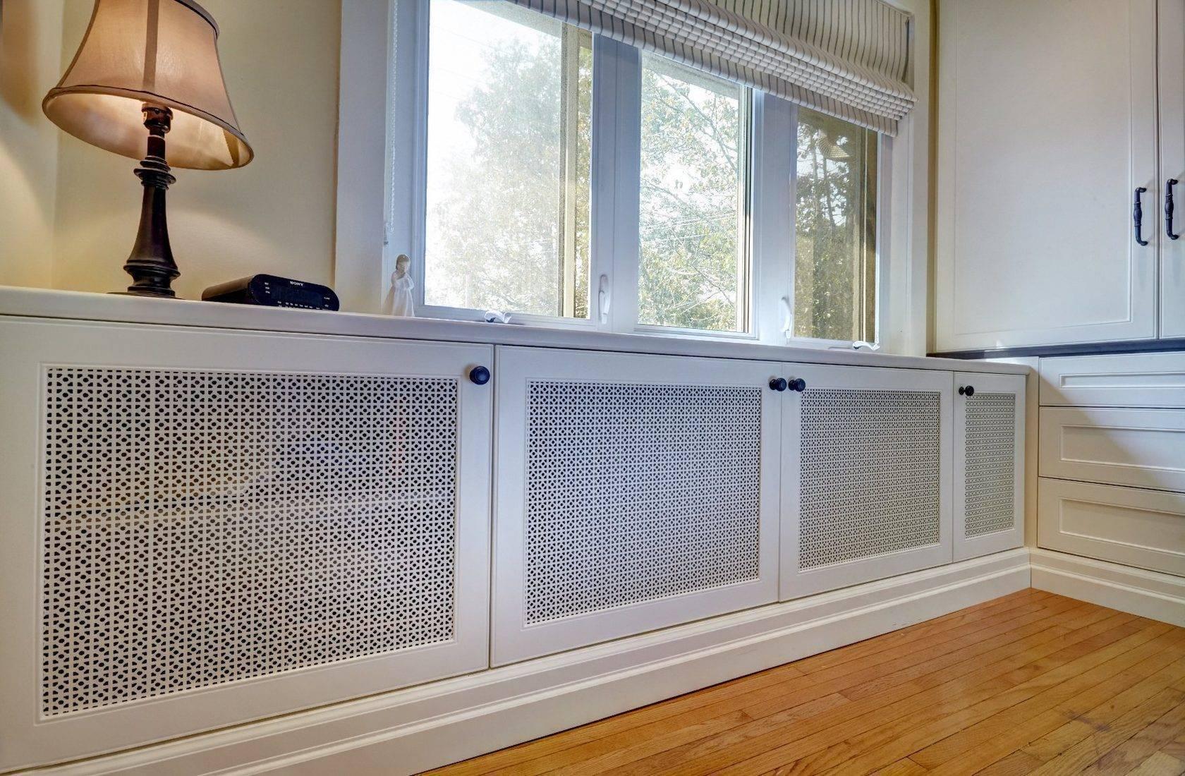 Экран на батарею отопления: металлические решетки для радиаторов, как установить защитную конструкцию из металла