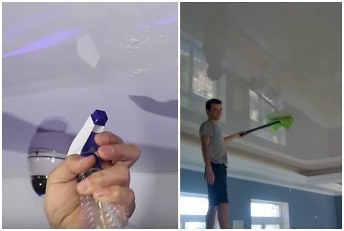 Чем отмыть на кухне натяжной потолок от копоти