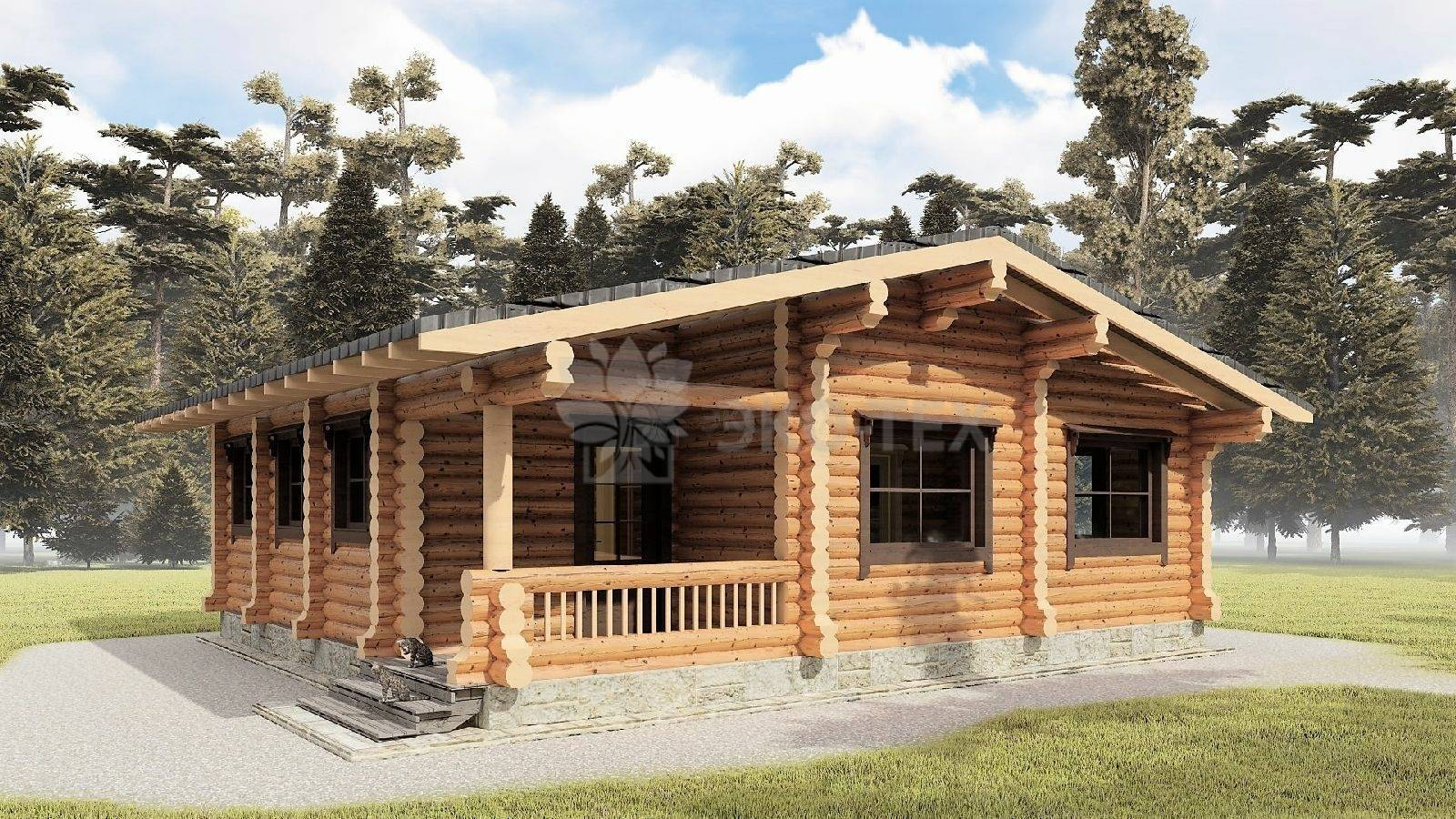 Одноэтажные дома из бревна и популярные проекты