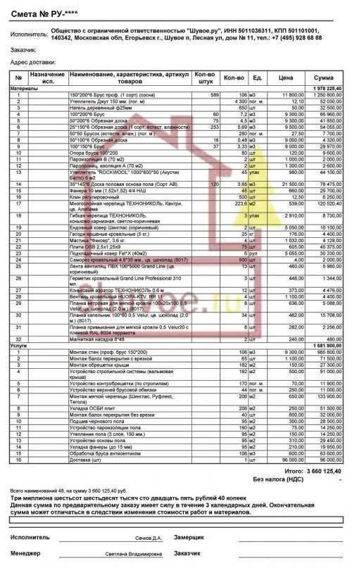 Простой образец сметы на строительство дома поможет хозяину разобраться с итоговой проектной стоимостью.