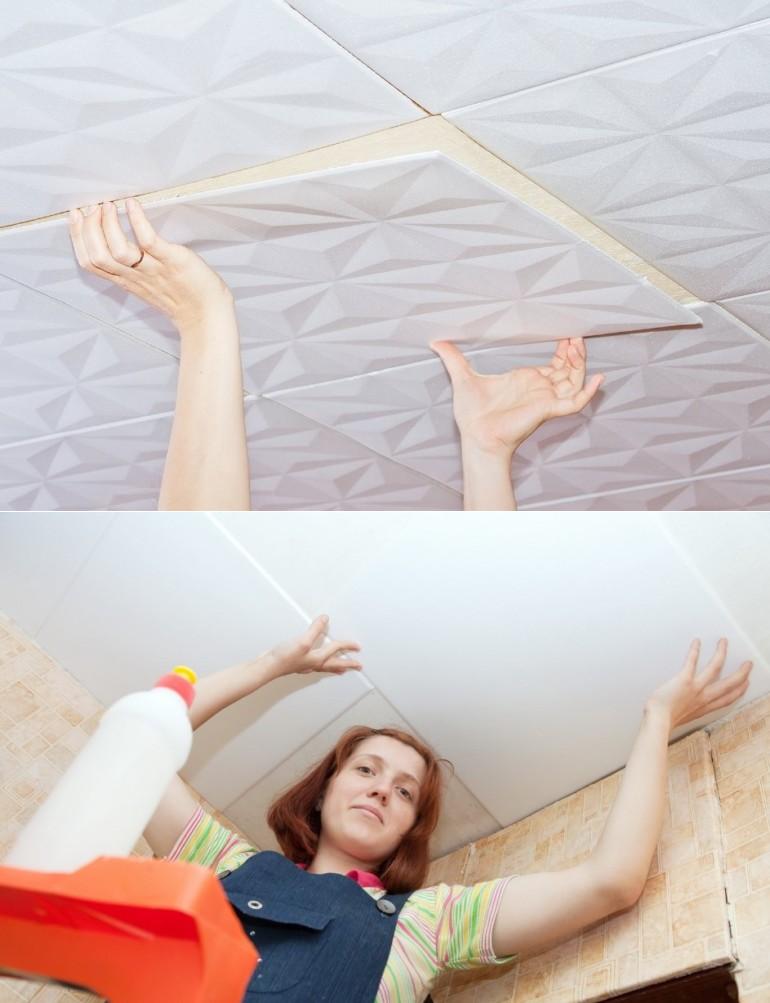 Чем обработать потолок и как приклеить плитку на побелку