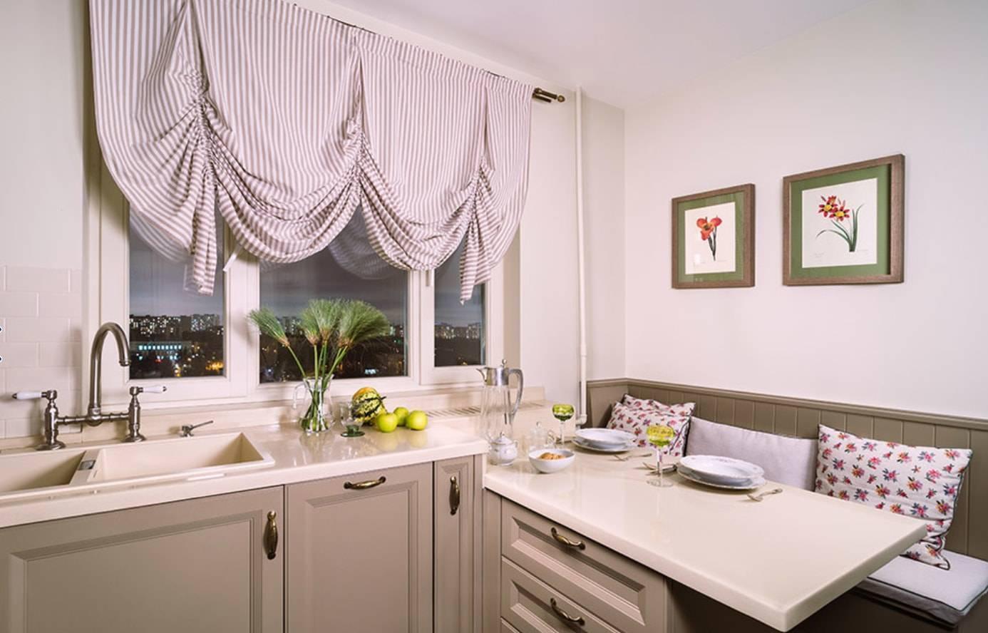 Оформление зоны окна в интерьере кухни современными шторами: идеи, примеры, модные тенденции, фото