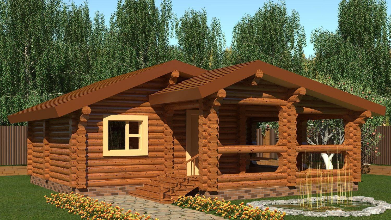 Одноэтажные дома из бревна: проекты и цены