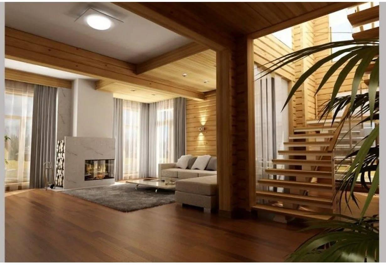 Интерьер дома из бруса внутри - фото дизайна по комнатам