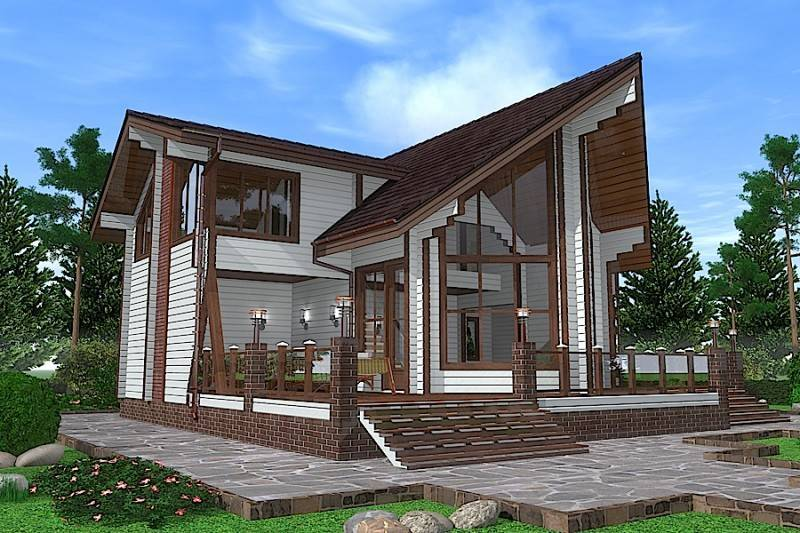 Дома в стиле хай тек, проекты и строительство каркасных современных коттеджей, плоская крыша одноэтажного загородного особняка из дерева