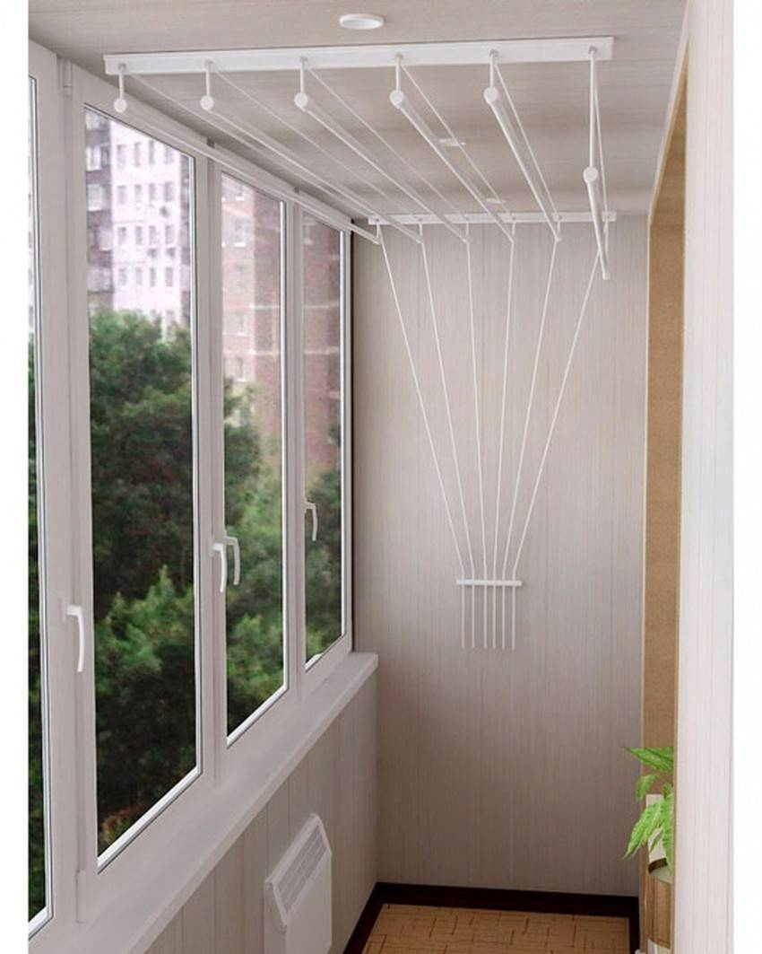 Вешалка для белья на балкон потолочная: порядок монтажа