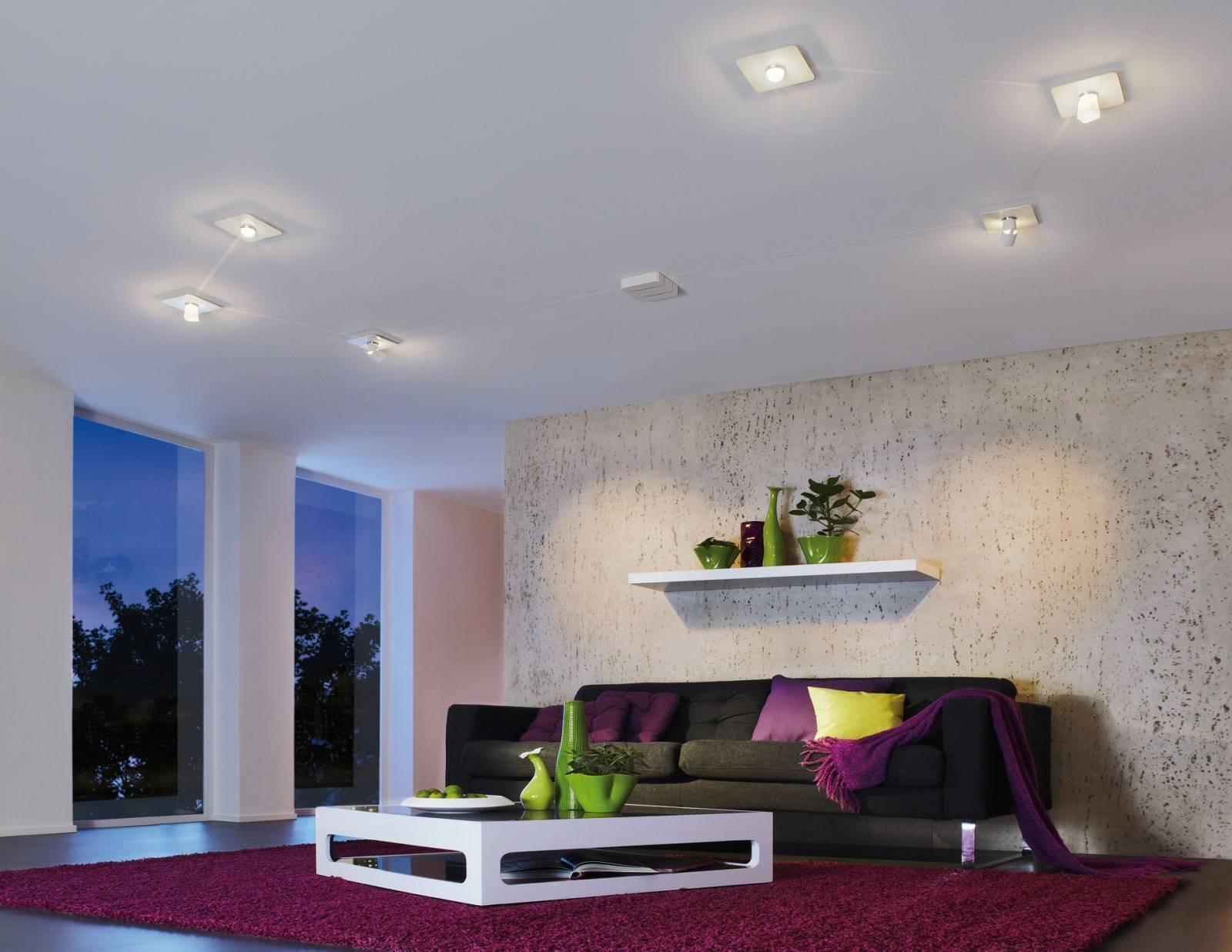 Лучшие схемы расположения встроенных светильников на натяжном потолке