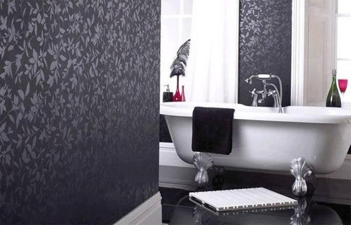 Какие обои выбрать для ванной комнаты: жидкие, самоклеющиеся, моющиеся, стеклообои или влагостойкие, фото