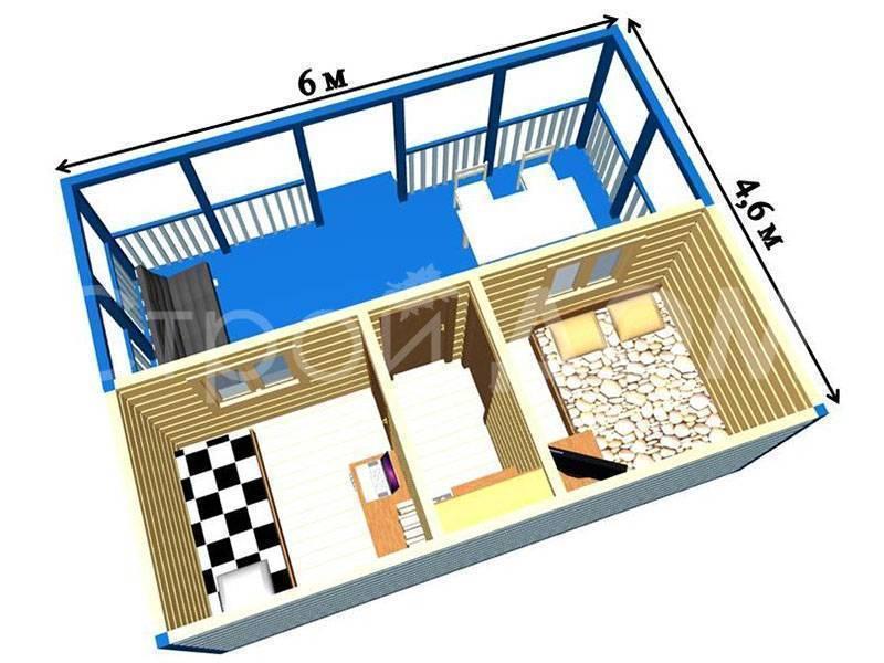 Бытовки дачные двухкомнатные с туалетом и душем: современные и функциональные проекты