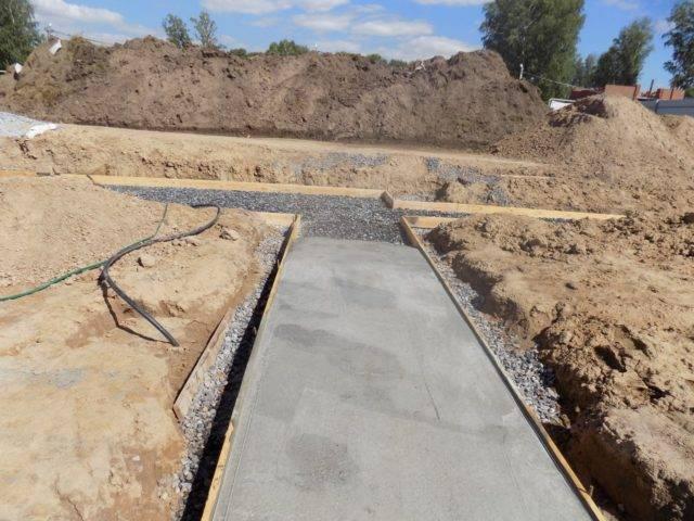 Подушка под ленточный фундамент: подготовка бетонная или песчаная, ширина