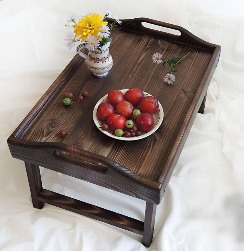 Столик для завтрака в постель: своими руками, чертежи, размеры и особенности использования