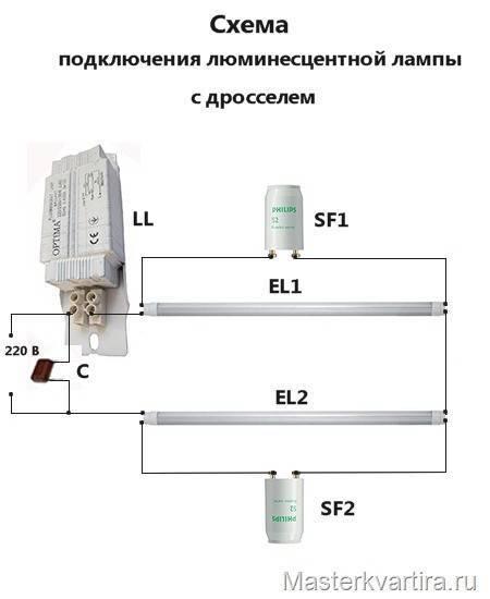 Схема подключения люминесцентной лампы: как собрать, как установить, с дросселем и без